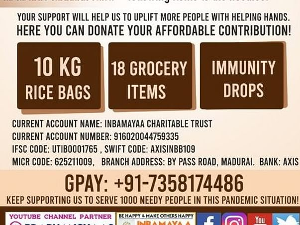 To Support 1000 Needy People in Chennai for Covid Lockdown!