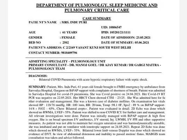 Help My Mother Fight Post Covid Pneumonia