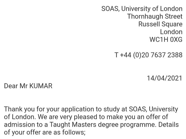 Help Sachin to Study at the University of London