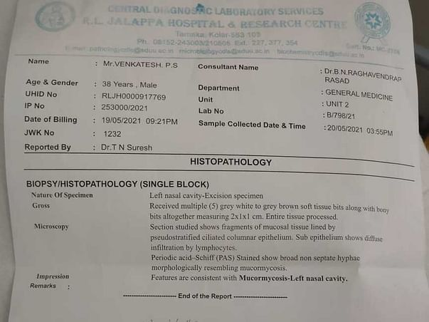 Support Venkatesh P S Recover From Mucormycosis