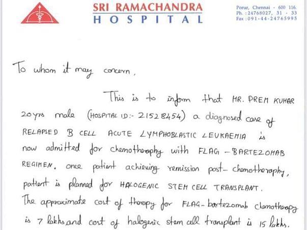 Premkumar Needs Your Urgent Support