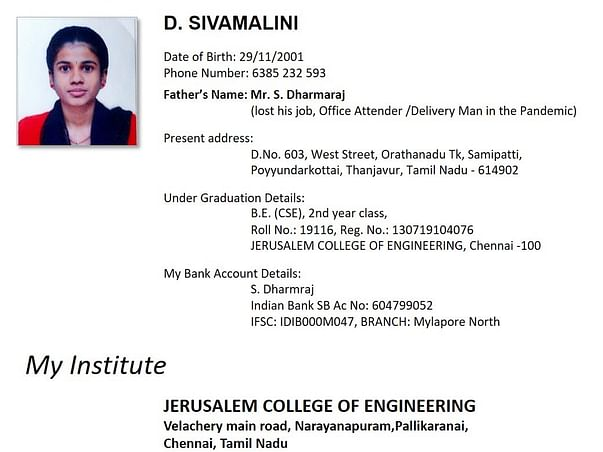 Please Support Sivamalini To Continue Her Degree