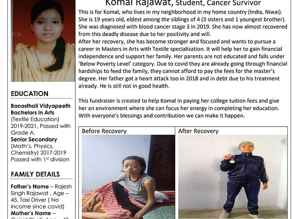 Cancer-survivor Komal Needs Support For Her Education