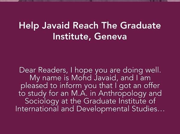 Help Javaid Reach The Graduate Institute, Geneva