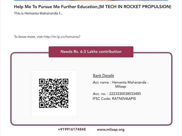 Help Me To Pursue Me Further Education,(M TECH IN ROCKET PROPULSION)