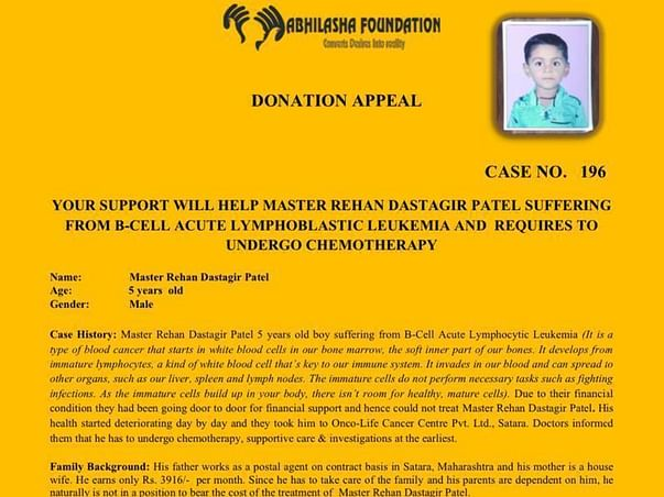 Please Help Rehan Dastagir Patel To Recover From Blood Cancer