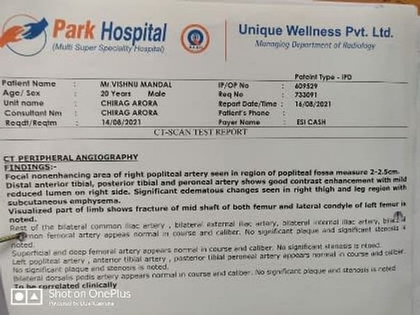 Please Help My Friend Vishnu Mandal To Recover From Accidental Injuries (Leg Completely Fractured )