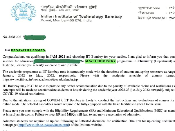 Help Laxman study at IIT Bombay