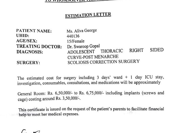 Support Aliva George Undergo Scoliosis Correction Surgery