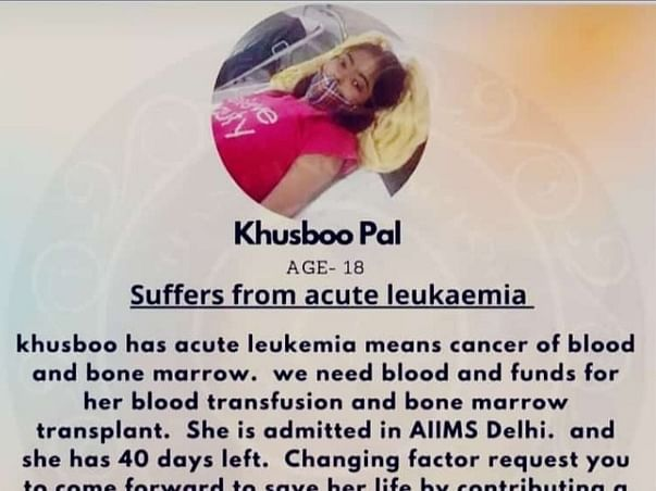 She Is Suffering From Blood Cancer And Bone Marrow (Leukemia Cancer)
