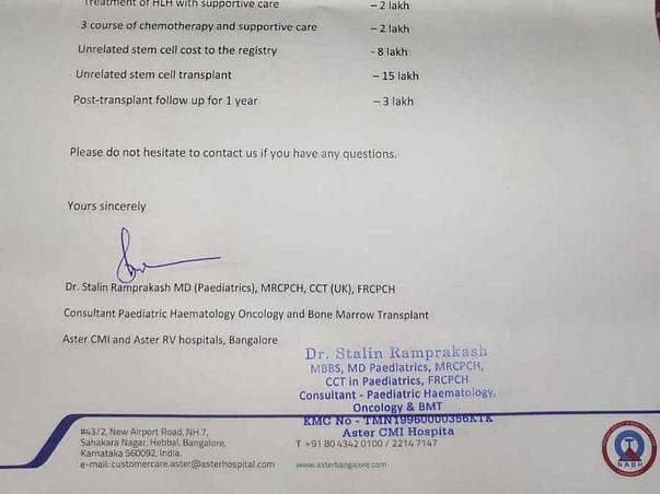 Baby Jemina (5-Years-Old)- Bone Marrow Transplant