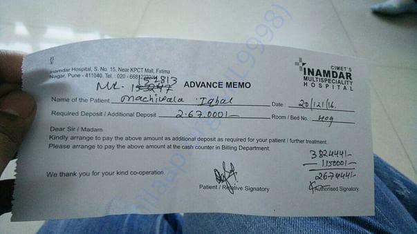 Hospital Advance memo