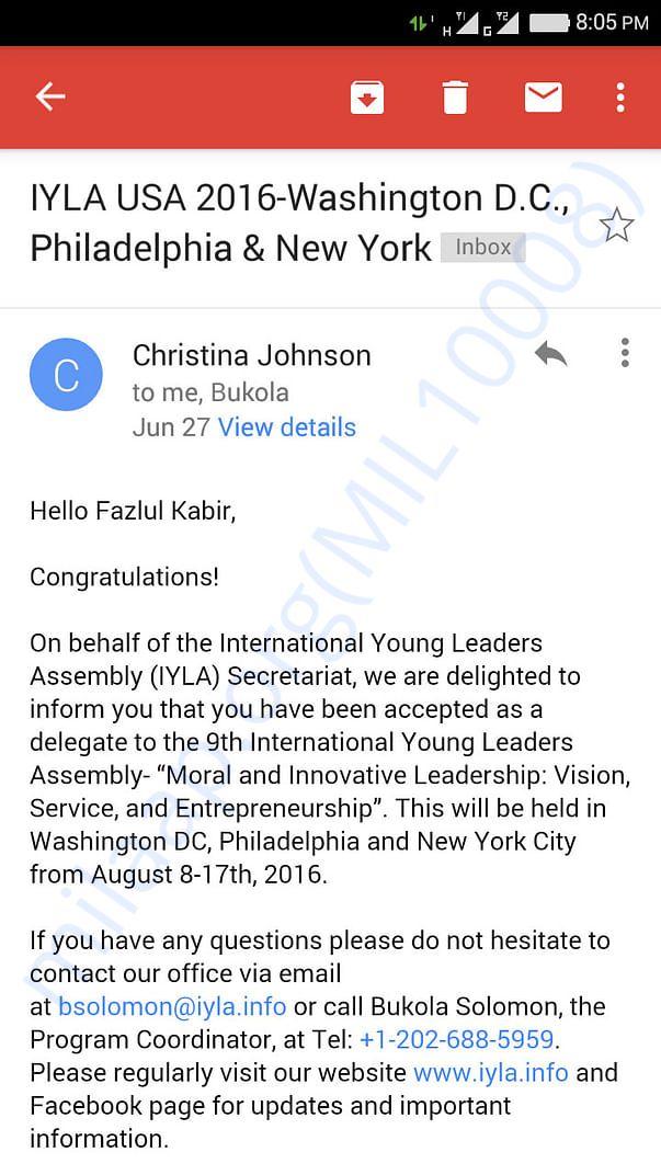 IYLA 2016 selection screenshot