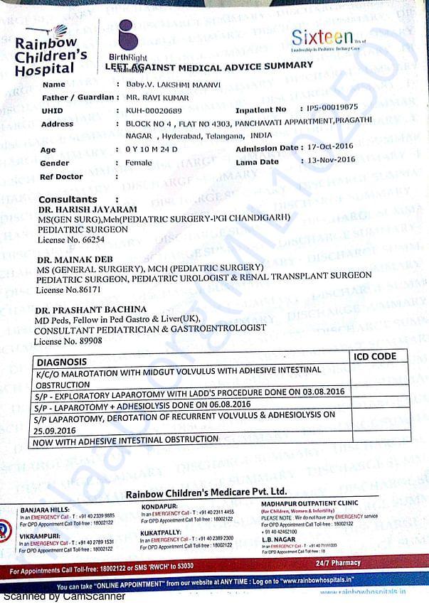 Lakshmi Maanvi's medical summary report
