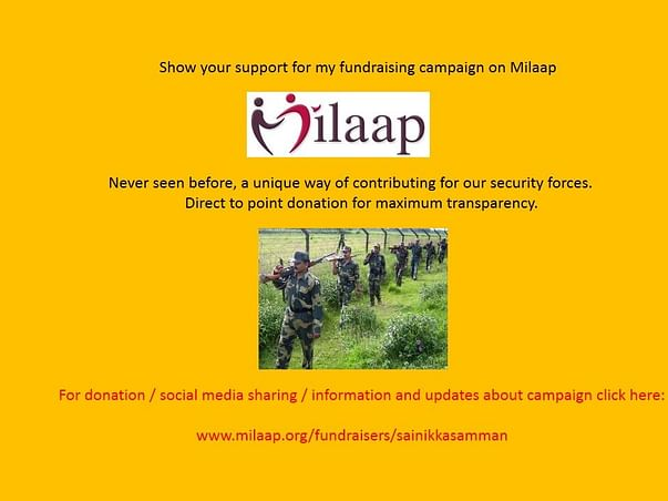 """Never seen before,""""direct to point donation""""for our security forces."""