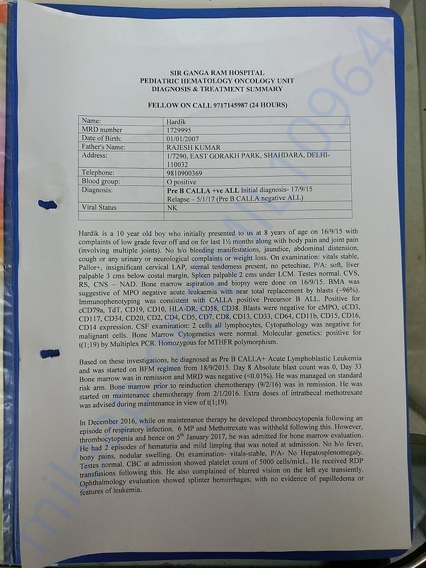 Diagnosis and Treatment Summary of Hardik 1