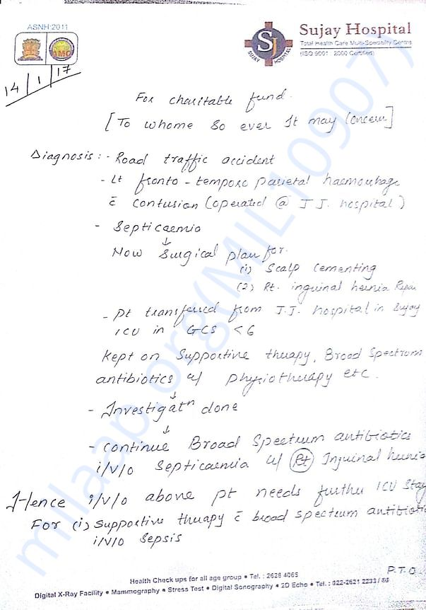 Doctor's letter page 1