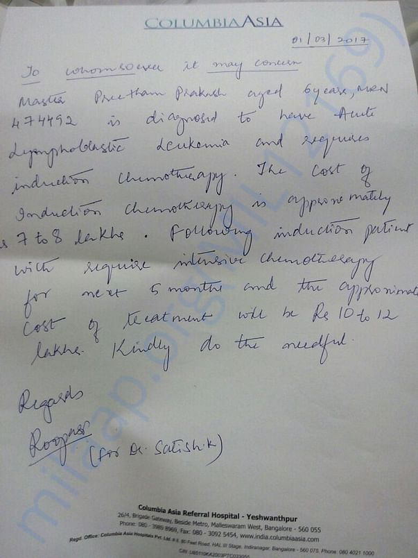 Preetham's treating Doctor's consent attached