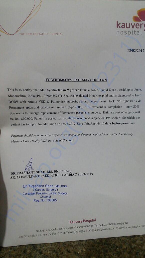 Pls see hospital letter