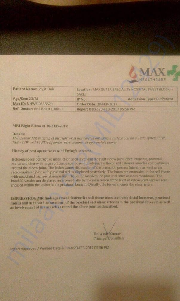 MRI report for Joyjit's elbow