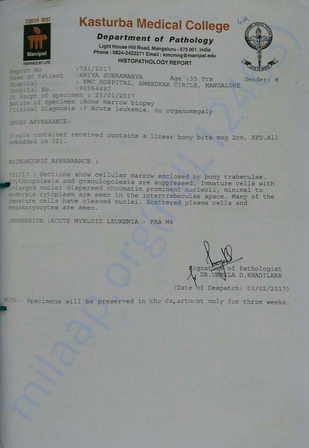 Pathology report from KMC Mangalore