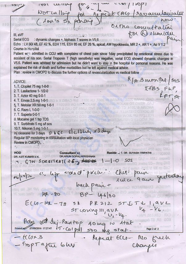 Angioplasty suugested by doctors - Report (Father - Ayyappan)