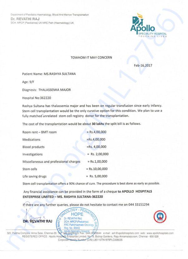 Hospital Cost Estimation Letter