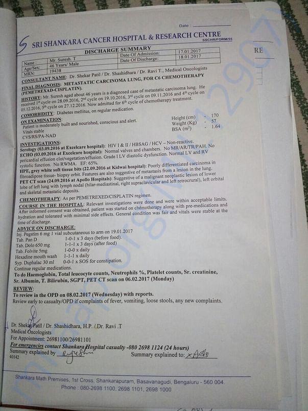 Discharge Summary from Shankara Cancel Hospital