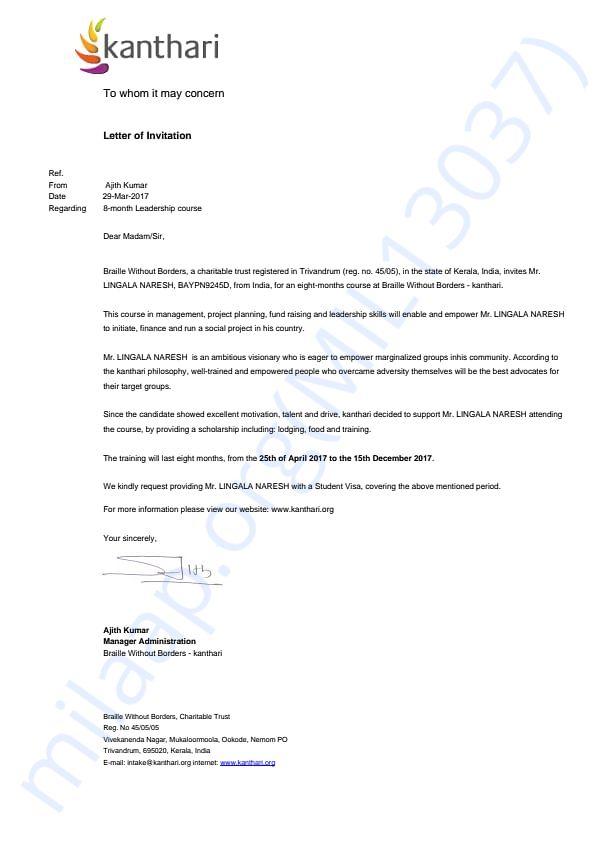Invitation Letter from Kanthari organisation