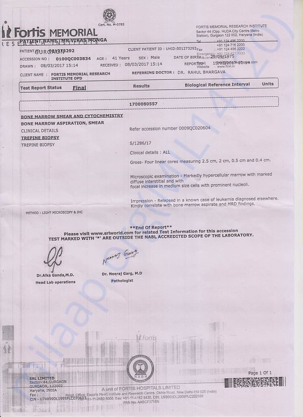 Medical Test report of Vikas Monga