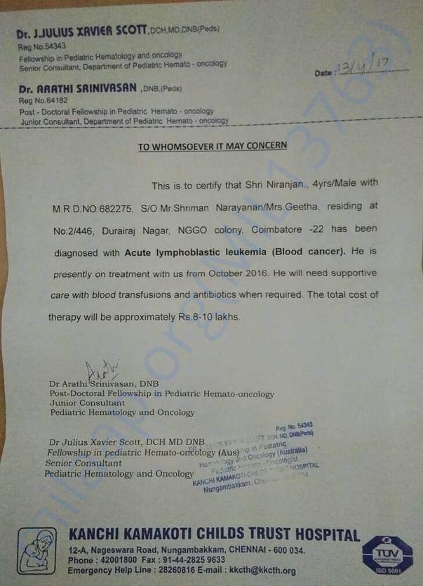 Affirmation certificate from Kanchi Kamakoti hospital, Chennai