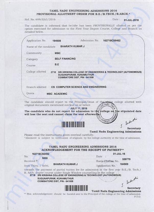 Admission form , Mr.J Bharath Kumar