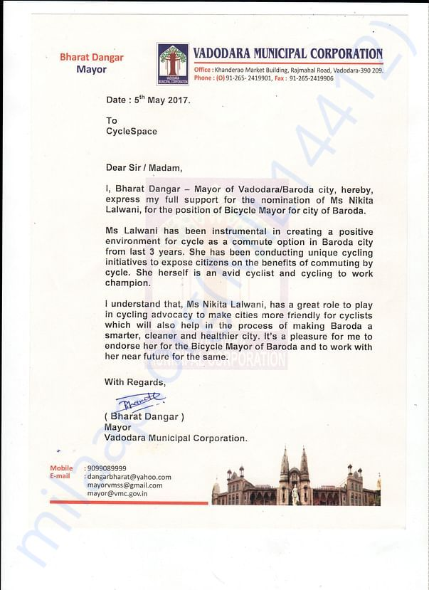 Endorsement letter by Mayor of Baroda, Mr. Bharat Dangar