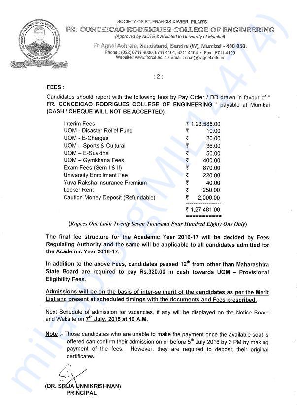 Last year's fee details