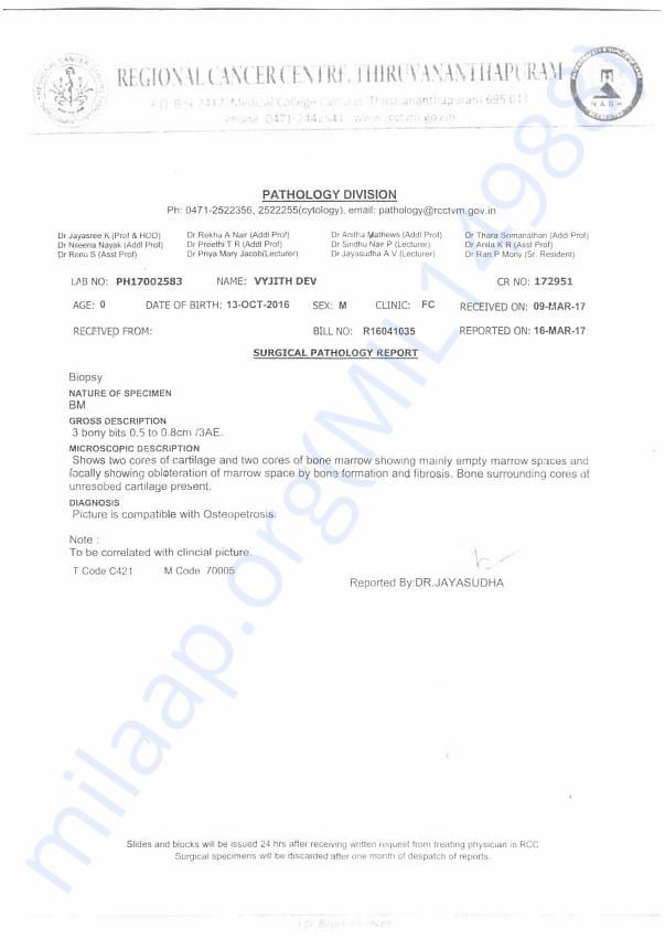 Vyjith's Blood Report from Regional Cancer Centre Trivandrum