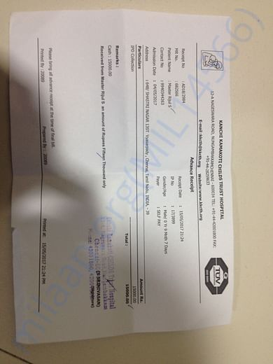 Ct scan report and hospital admission bill