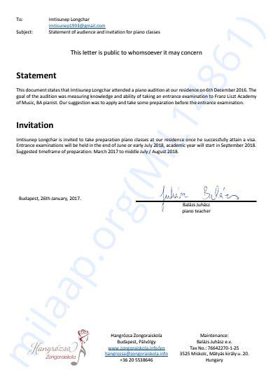 Acceptance/invitation letter