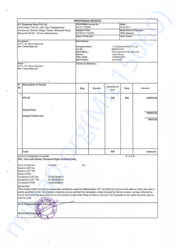 Proforma Invoice for 600 raincoats fot the children