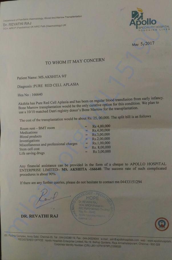 bone marrow transplantation treatment expenses letter