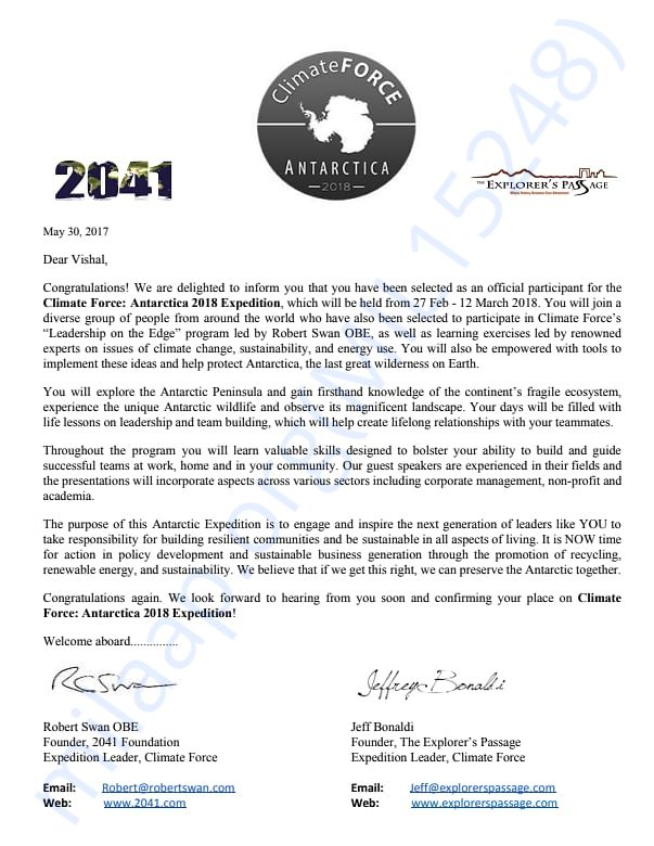 Expedition Selection Letter