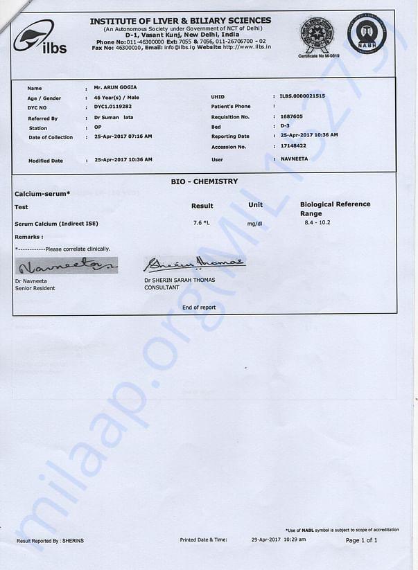 Calcium serium report