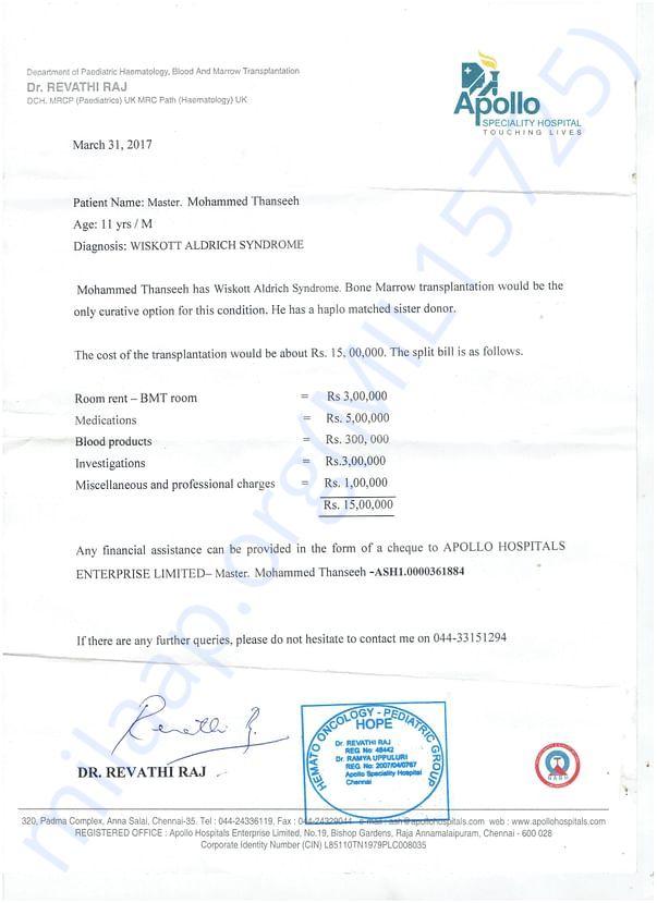doctor's and hospital's (Appollo Chennai) estimate letter
