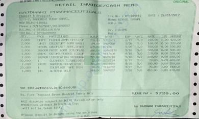 Receipt for 2 pouches and 2 weeks supply of stoma accessories
