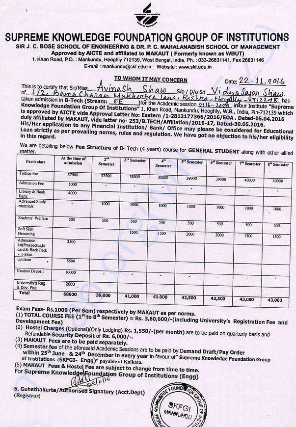 B.Tech Fee Schedule