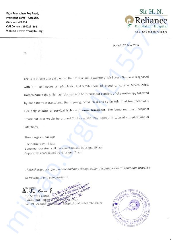 Doctor's letter advising treatment and cost of treatment