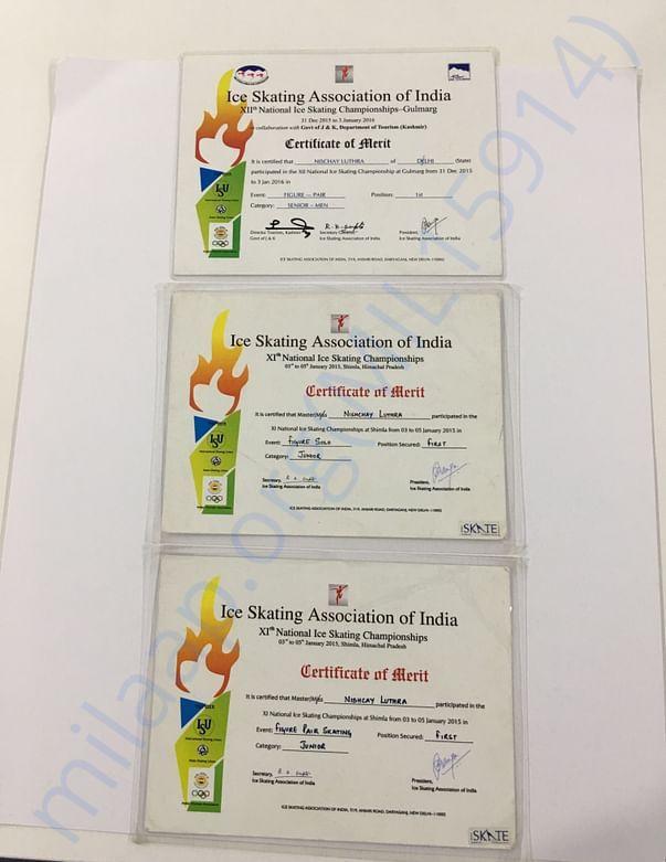 National Skating Championship Certificates