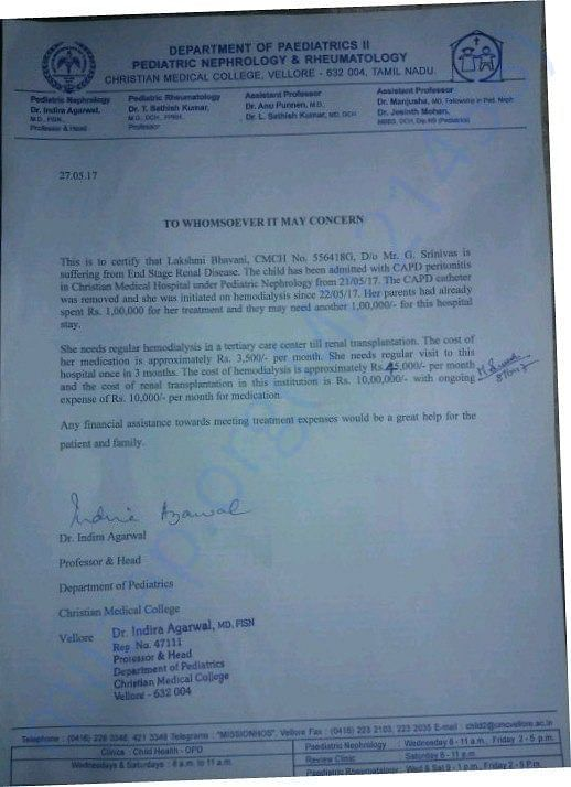 estimation letter regarding this treatment