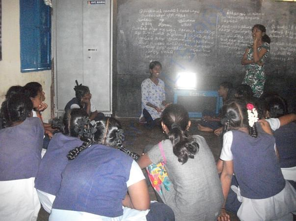 Priya and her friends are making a presentaion at a school in Vellore.