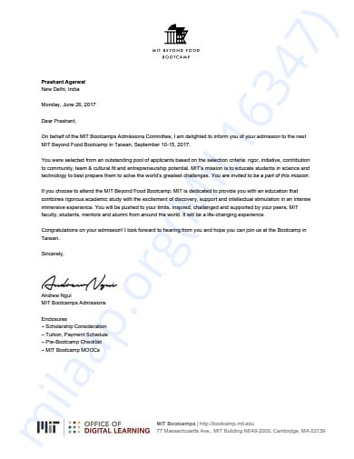 MIT's confirmation letter