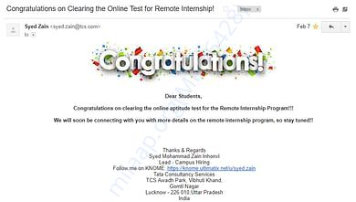 TCS Remote Internship 2.0 selection mail